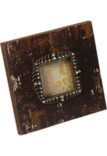 Porta-Retrato De Madeira Safira Com Pedras