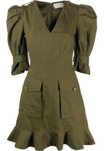 Alexander Mcqueen Vestido Mini Militar - Verde