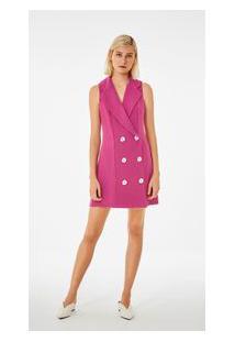 Vestido Curto Gola Alfaiataria Com Faixa Pink P