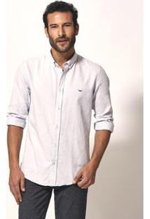 Camisa Aviator Slim Fit Oxford Masculina - Masculino-Gelo