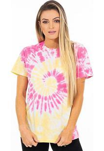 Camiseta Energia Natural Tie Dye - Unissex-Amarelo+Rosa