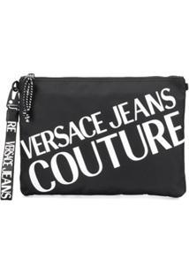 Versace Jeans Couture Clutch Com Logo Contrastante - Preto