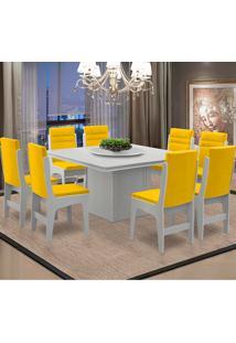 Conjunto De Mesa Para Sala De Jantar Com 8 Cadeiras - Amsterdam - Dobuê - Branco / Canário