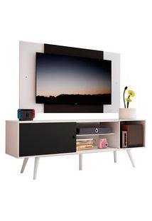 Rack Madesa Cairo E Painel Para Tv Até 58 Polegadas Com Pés De Madeira - Branco/Preto 73C7 Branco