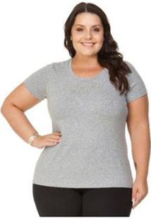 Blusa Viscolycra Com Pedraria Miss Masy Plus Size - Feminino-Cinza