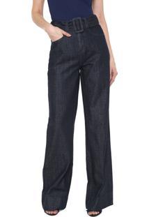 fff1ef29c ... Calça Jeans Colcci Pantalona Com Cinto Azul-Marinho