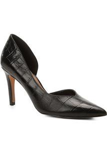 Scarpin Couro Shoestock Salto Alto Croco High Vamp - Feminino-Preto