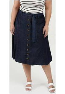 Saia Feminina Jeans Midi Evasê Botões Plus Size