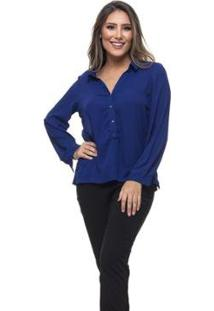 Blusa Clara Arruda Abertura Frontal Feminina - Feminino-Azul Royal
