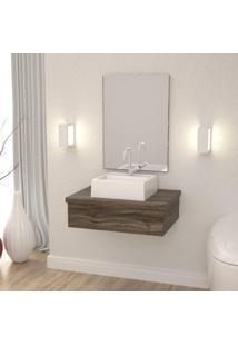 Conjunto Para Banheiro Gabinete Com Cuba Q32 E Espelheira 601W Metrópole Compace Carvalho Dark