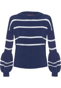 Blusa Feminina Tricot Stripes - Azul