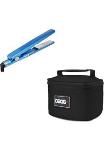Necessaire Dagg Kit Chapinha Prancha Profissional Azul E Necessaire Preta