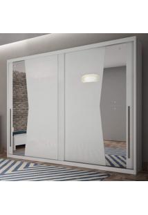 Guarda Roupa Casal 2 Portas Com Espelho Geom Móveis Novo Horizonte Branco