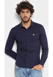 Camisa Social Polo Rg 518 Manga Longa Masculina - Masculino-Marinho