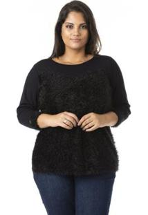 Blusa De Viscose Com Pelinhos Plus Size Confidencial Extra Feminina - Feminino-Preto