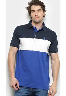 Camisa Polo Aleatory Listrada Fio Tinto 5040-K21-70 - Masculino-Marinho+Azul