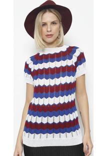 Blusa Em Tricot Vazado Listrada- Branca & Azul- Pontponto Aguiar