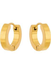 Brinco Argola Aço Inox Tudo Joias Modelo Reto Dourado - Unissex-Dourado