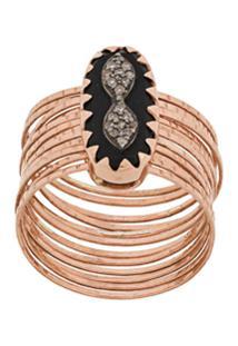 Pascale Monvoisin 9Kt Rose Gold Bowie N°1 Black Diamond Ring - Dourado