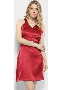Vestido Lily Fashion Tubinho Acetinado - Feminino-Estampado