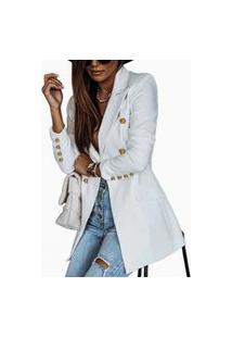 Blazer Feminino Clássico Alfaiataria Atemporal Chique Rosa Tipo Balmain Diferenciado Branco
