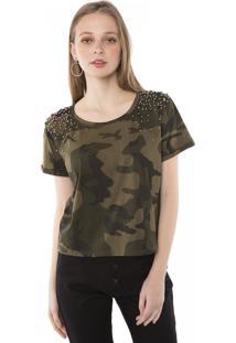 Camiseta T-Shirt Camuflada Aplicação Metal Ombros Pop Me Verde