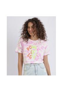 "Blusa Feminina Tie Dye Power Of Love"" Manga Curta Decote Redondo Rosa"""