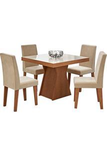 Conjunto De Mesa Olivia Para Sala De Jantar Com 4 Cadeiras Milena- Cimol - Savana / Off White / Sued Bege