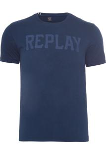 Camiseta Masculina Replay Geometric - Azul