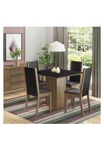 Conjunto Sala De Jantar Madesa Roma Mesa Tampo De Madeira Com 4 Cadeiras Rustic/Preto Rustic/Preto