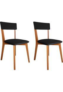 Conjunto Com 2 Cadeiras De Jantar Tóquio Corino Mel E Preto