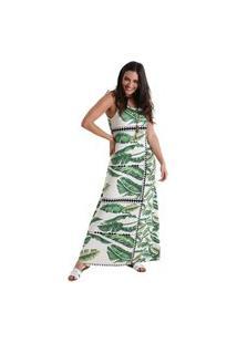 Vestido Longo De Alça Maya - Verde - Líquido