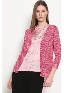 Cardigã Coração E Botões- Rosa & Brancagregory
