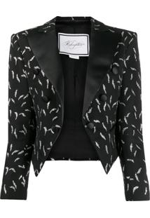 Redemption Blazer Cropped Com Bordado - Preto