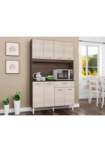 Cozinha Com 8 Portas Cassia Capuccino/Amêndoa - Lc Móveis