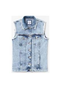 Colete Jeans Marmorizado Com Desfiados | Blue Steel | Azul | G