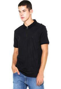 Camisa Polo Calvin Klein Zíper Preta