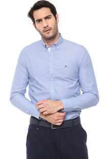 Camisa Tommy Hilfiger Slim Grid Dobby Azul/Branca