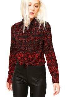 Camisa Manga Longa Ellus Mosaico Preta/Vermelha