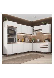 Cozinha Completa De Canto Madesa Reims 462001 Com Armário E Balcão Branco Branco