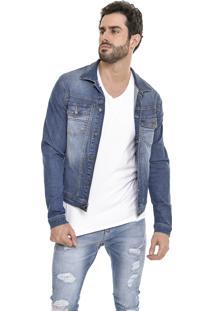 Jaqueta Jeans Dialogo Slim Fit Azul