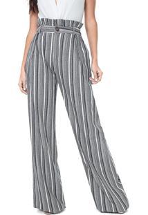 Calça Lez A Lez Pantalona Listrada Off-White/Azul-Marinho