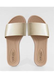 Chinelo Beira Rio Slide Metalizado Conforto Feminina - Feminino-Dourado