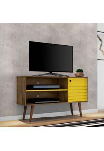 Rack Para Tv Até 42 Polegadas Jade Madeira Rústica E Amarelo