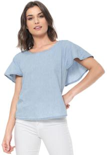 Blusa Jeans Malwee Babados Azul