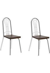 Kit 2 Cadeiras 182 Cacau/Cromado - Carraro Móveis