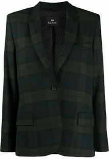 Ps Paul Smith Blazer Com Abotoamento Simples E Estampa Xadrez Tartan - Azul