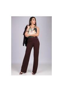 Calça Pantalona Malha Com Botão Madrepérola E Bolso Marrom