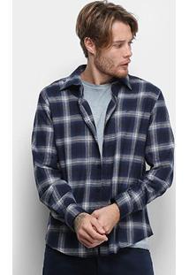 Camisa Ellus Shade Wool Xadrez Manga Longa Masculina - Masculino-Azul Escuro