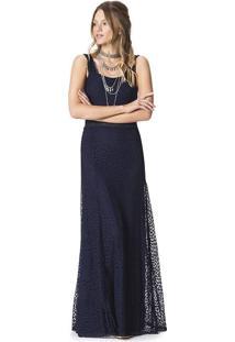 Vestido Longo Renda Sem Manga Vazado Azul